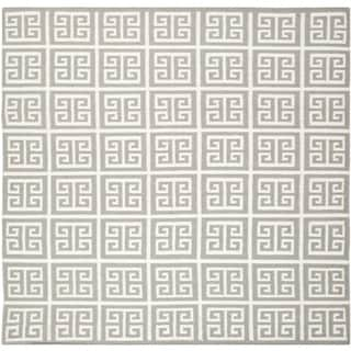 Safavieh Handwoven Moroccan Reversible Dhurrie Grey Transitional Wool Rug (7' Square)