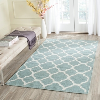 Safavieh Hand-woven Moroccan Reversible Dhurrie Blue Wool Rug (4' x 6')