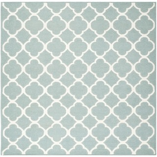 Safavieh Handwoven Geometric Moroccan Reversible Dhurrie Blue Wool Area Rug (7' Square)