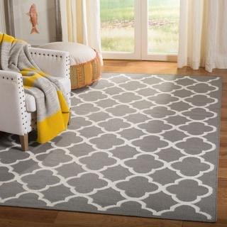 Safavieh Hand-woven Moroccan Reversible Dhurrie Grey Wool Rug (3' x 5')