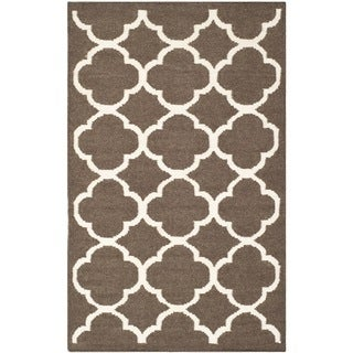 Safavieh Hand-woven Moroccan Reversible Dhurrie Brown Wool Floral Geometry Rug (2'6 x 4')