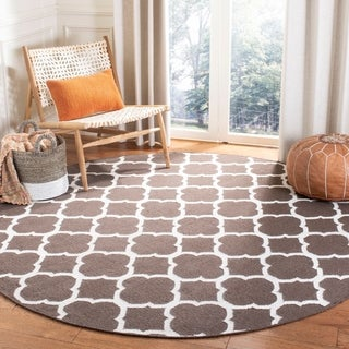 Safavieh Hand-woven Moroccan Reversible Dhurrie Brown Wool Rug (7' Round)