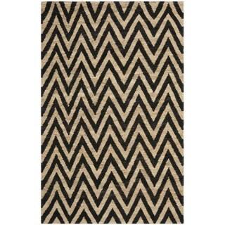 Safavieh Hand-knotted Organic Black/ Natural Wool/ Jute Rug (4' x 6')