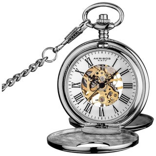 Akribos XXIV Men's Antique Mechanical Skeleton Chain Pocket Watch (2 options available)