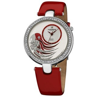 Akribos XXIV Women's Water-resistant Parrot Dial Leather Red Strap Watch with FREE GIFT - Silver