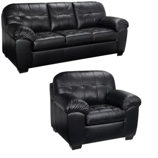 Emma Black Italian Leather Sofa and Chair - 38 x 88.5 x 37.5