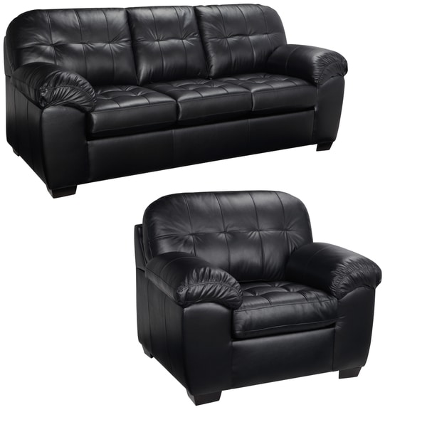 Emma Black Italian Leather Sofa and Chair