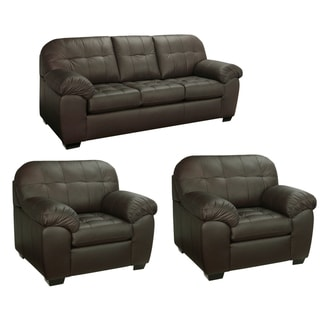 isabella chocolate brown italian leather sofa and two chairs - Italian Leather Sofa