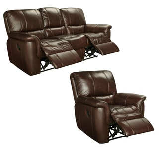 Ethan Chestnut Brown Italian Leather Reclining Sofa and Recliner Chair
