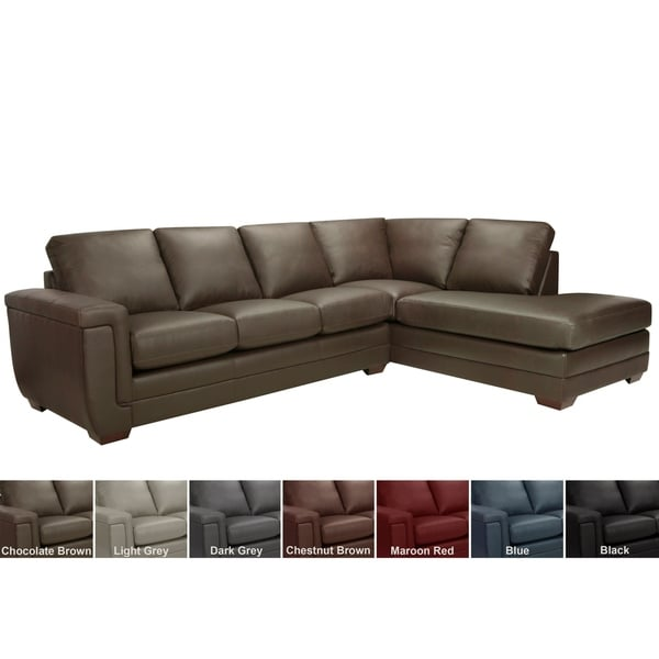 Shop Porsche Top Grain Italian Leather Sectional Sofa - Free ...