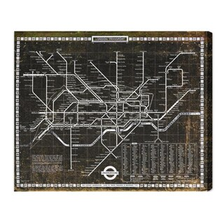Oliver Gal 'London Tube 1972' Maps and Flags Wall Art Canvas Print - Black, White