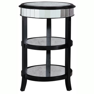 Hand-painted Distressed Antique Mirrored/ Black Finish Accent Table