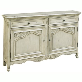Hand-painted Distressed Antique Cream Console Chest