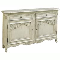 Hand-painted Distressed Antique Cream Console Chest - Multi