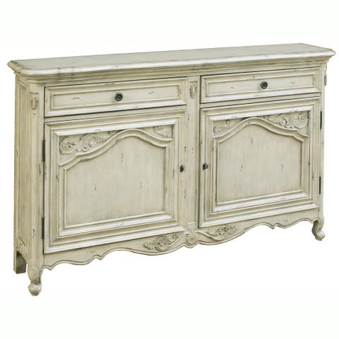 Hand-painted Distressed Antique Cream Console Chest - 12 x 60 x 36