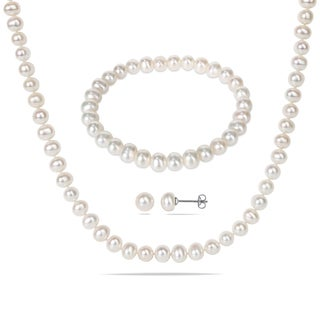 Miadora Silvertone Cultured Freshwater Pearl Necklace Bracelet and Earrings 3-piece Set (6-7mm