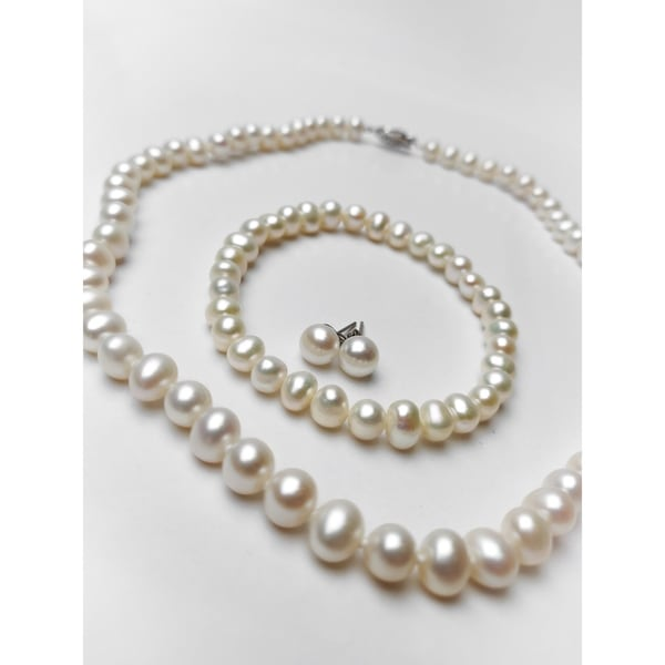 3 Pc. 6-7 MM Cultured FW Pearl Jewelry Set in Silvertone by Miadora - 7 inch x 7.4 mm x 6.5 high