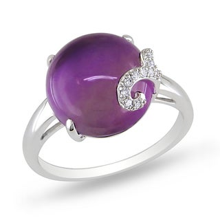 Miadora 10k White Gold 7ct TGW Amethyst and Diamond Ring