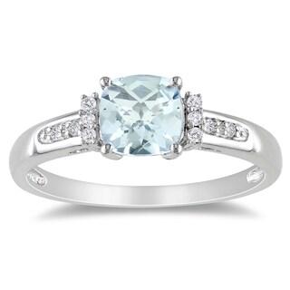 Miadora Sterling Silver Aquamarine and Diamond Ring