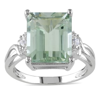 Miadora Sterling Silver Octagon-cut Green Amethyst and White Topaz Split Shank Cocktail Ring