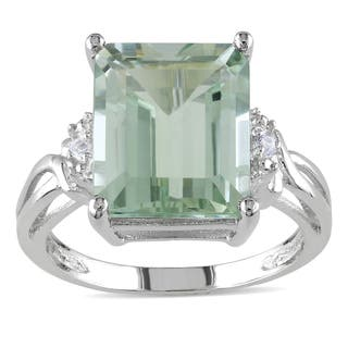 Miadora Sterling Silver Octagon-cut Green Amethyst and White Topaz Split Shank Cocktail Ring|https://ak1.ostkcdn.com/images/products/8093261/8093261/Miadora-Sterling-Silver-Green-Amethyst-and-White-Topaz-Cocktail-Ring-P15444982.jpg?impolicy=medium