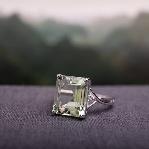 Octagon 5 5/8ct TGW Green Amethyst and White Topaz Crossover Ring in Sterling Silver by Miadora