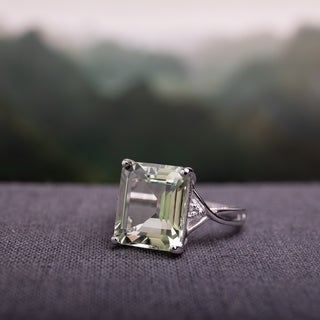 Link to Rectangular 5 5/8 ct. Green Amethyst / White Topaz Sterling Silver Cocktail Ring by Miadora Similar Items in Rings