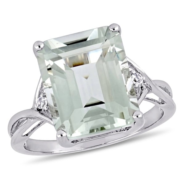 0f63bfe55 Miadora Sterling Silver Octagon-cut Green Amethyst and White Topaz Split  Shank Cocktail Ring