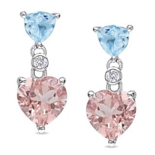 Miadora Sterling Silver Morganite and Blue Topaz Earrings