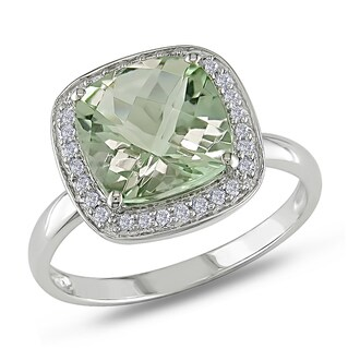 Miadora 10k White Gold Green Amethyst and 1/10ct TDW Diamond Ring (G-H, I1-I2)