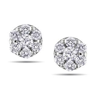 Miadora 10k White Gold 1/4ct TDW Diamond Stud Earrings