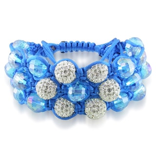 Miadora Blue Crystal and White Cubic Zirconia Macrame Bracelet