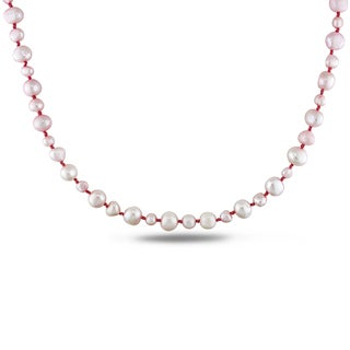 M by Miadora Pink Cultured Freshwater Pearl Endless Necklace (5-9 mm)