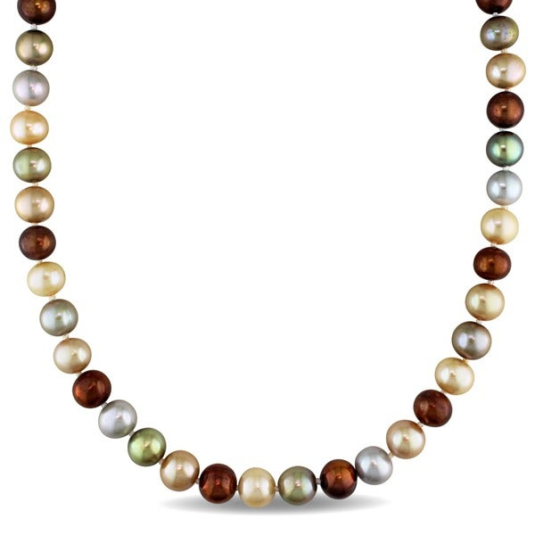 Miadora Sterling Silver Multi-color Cultured Freshwater Pearl Strand Necklace (9.5-10mm)