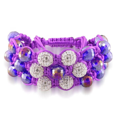Miadora Purple Crystal and White Cubic Zirconia Macrame Bracelet