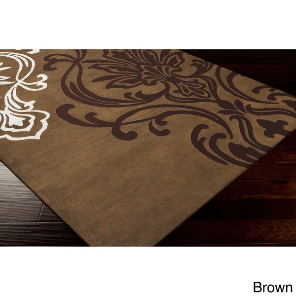 Modern Classics Hand-tufted Contemporary Brown Floral Area Rug - 8' x 11'