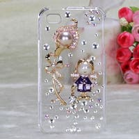 INSTEN Debby Diamante/ Flower 3D Diamante Phone Case Cover for Apple iPhone 4/ 4S