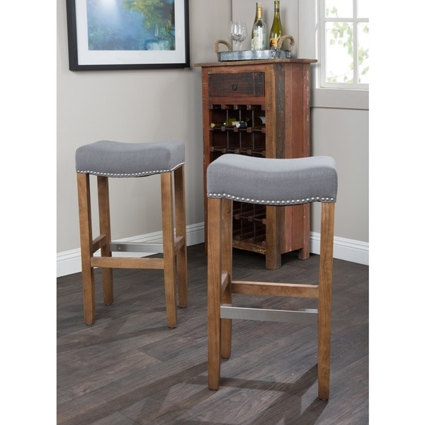 Optima Upholstered Grey Backless 30 Inch Barstool By Kosas