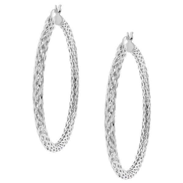 923a4b250ce5b Shop High-Polish Sterling-Silver Woven-Mesh Design Hoop Earrings ...