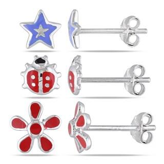 Miadora Sterling Silver Children's Enamel Stud Earrings 3-piece Set