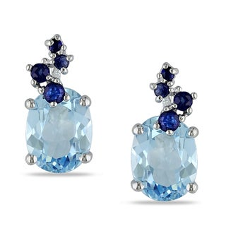 Miadora Sterling Silver 5ct TGW Blue Topaz and Sapphire Earrings