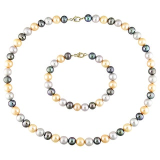 Miadora 14k Yellow Gold Cultured Freshwater Pearl Necklace and Bracelet 2-piece Set (7-8 mm)