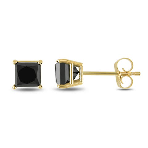 Miadora 10k Yellow Gold 1ct TDW Princess Black Diamond Earrings