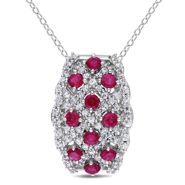 Miadora Sterling Silver Created Ruby and White Sapphire Necklace