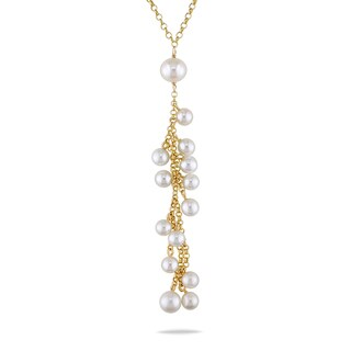 Miadora 14k Yellow Gold White Cultured Freshwater Pearl Drop Necklace (5-8 mm)