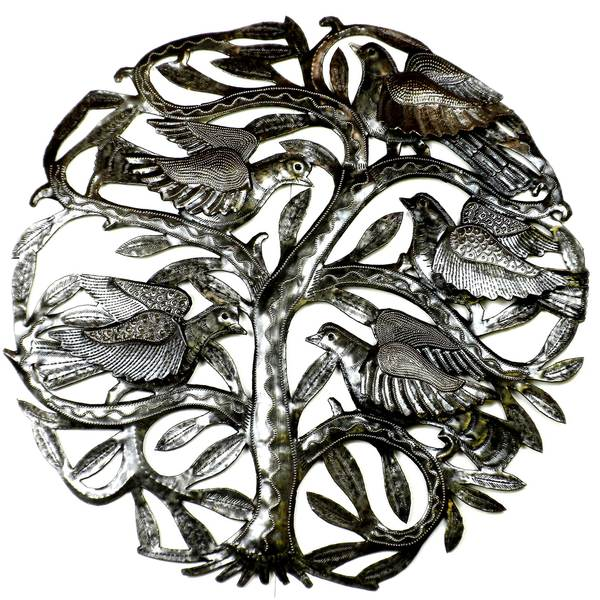 Handcrafted Tree of Life 3-D Birds 24-inch Metal Wall Art  , Handmade in Haiti
