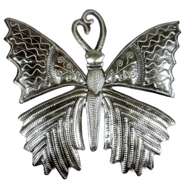 Handcrafted Small Butterfly 11-inch Metal Art , Handmade in Haiti