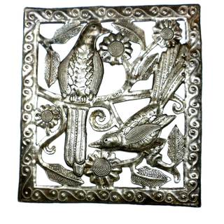 Handmade Two Birds Metal Wall Art (Haiti)