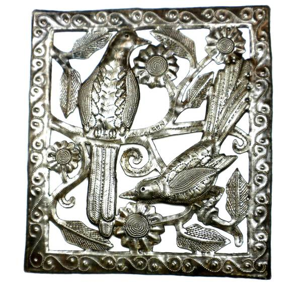 Handcrafted Two Birds Metal Wall Art (Haiti)