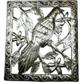 Handcrafted Bird Metal Wall Art (Haiti)
